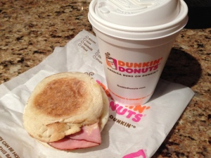 Dunkin' Donuts Eggs Benedict Sandwich and a medium coffee