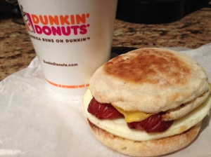 Smoked sausage, egg, & cheese from Dunkin' Donuts