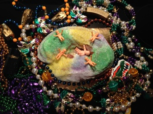 "Publix-brand King cake with way too many plastic baby Jesuses (is that plural of ""Jesus""?)"
