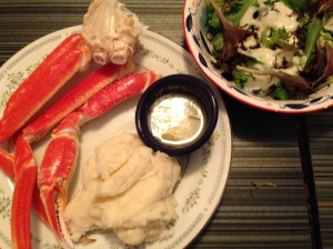 Crab legs, mashed potatoes, & salad
