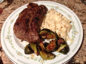 Sirloin with teriyaki-glazed brussel sprouts and fettuccine