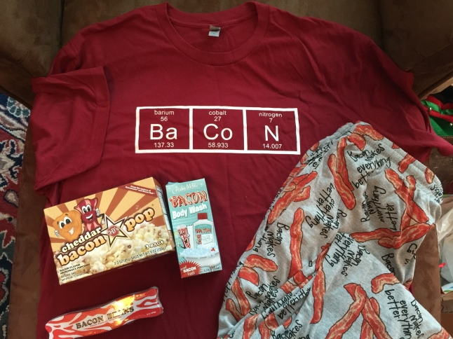 Bacon t-shirt, boxers, candy, popcorn, body wash (not pictured - bacon lip balm)