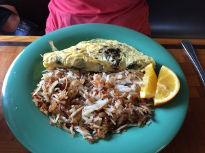 Mushroom, Swiss, and spinach omelet with hash browns