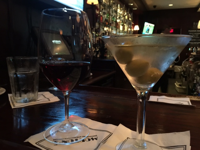 Pinot noir and dirty martini