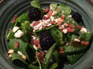 Bacon Raspberry Vinaigrette Salad with Blackberries and Bleu Cheese